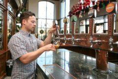 Marius Hartman tries the beer he made in Sierra Nevada's Tasting Room. Photo credit: Sierra Nevada